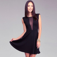 Black Deep V-Neck Mesh Cutout Sleeveless Skater Dress