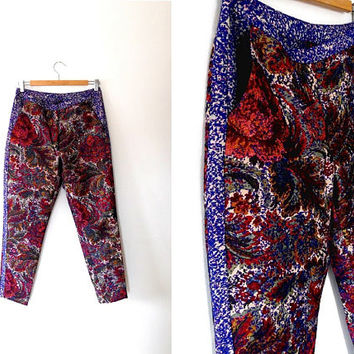 Bold floral paisley shimmer cigarette pants / colourful / metallic / gold / red / blue / rust / embroidered / 80s / vintage / strip trousers