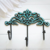 Wall Hook / Wall Decor / Traditional Decor / Triple Hook / Key Hanger / Coat Hook / Organize / Ornate / Brown Decor / Aqua Decor
