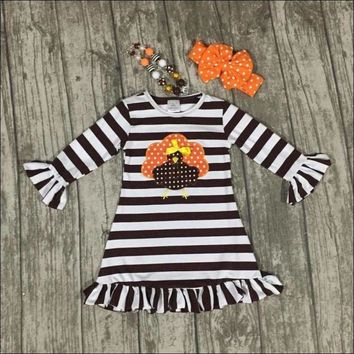 Thanksgiving Fall striped brown outfits dress turkey boutique cotton ruffle children clothes match accessory