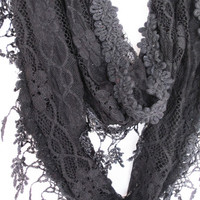 Elegant Black Lace Scarf, Gift For Her, Infinity, Winter Trends