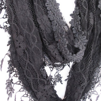 Elegant Black Lace Scarf, Gift For Her, Winter Trends