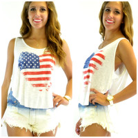 SZ MEDIUM Heart of America Off White Slub Loose Tank