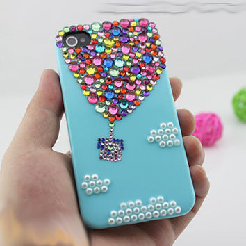 Handmade fire balloon iPhone case iPhone 5 case, iPhone 4 case , custom bling samsung galaxy s2 s3 s4 case galaxy note 2 case