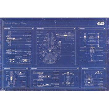 Star Wars Rebel Fleet Blueprint Poster 24x36