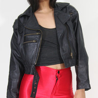 Vintage 1970 Cropped Leather Motorcycle Jacket