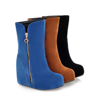 Sweet Increased Wedge Side Zipper PU Boots