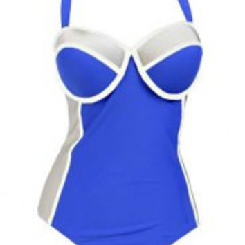 Strappy Color Bock Plus Size One-Piece Swimsuit