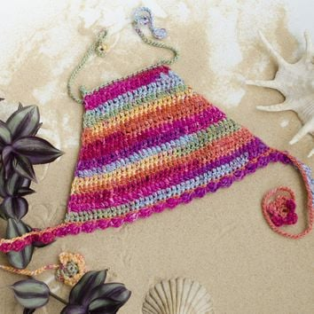 Handmade Boho Toddler Crochet Halter Tank Knit Top