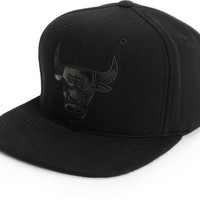 NBA Mitchell and Ness Bulls Blacked Out Snapback Hat