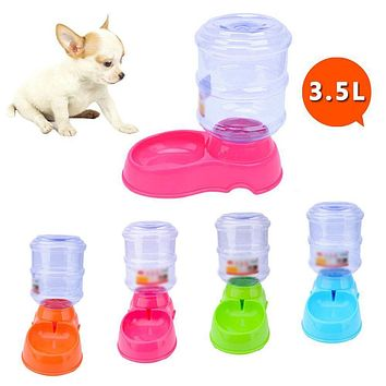 Large 3.5L Automatic Pet Food Drink Water Dispenser Dog Cat Feeder Bowl Dish