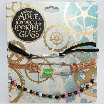 Licensed cool Disney Alice Through The Looking Glass Wonderland Cord Charm Bracelet Set  3 PK