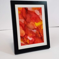 Alcohol Ink on Yupo Paper, Abstract Wall Art, Orange, Red and Yellow, 5x7 Wall Art, Art on Yupo Paper, 717Art, Ink Painting, Yupo Paper Art