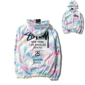 Stussy Ice-cream Windbreaker Couple Rashguard Jovial