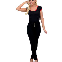 Black Button Up High Waist Stretch Knit Cigarette Pants
