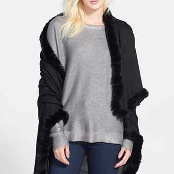 Women's La Fiorentina Genuine Rabbit Fur Trim Cashmere Wrap