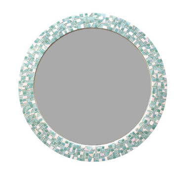 Aqua, Mint and White Wall Mirror, Round Mosaic Mirror, Nursery Decor