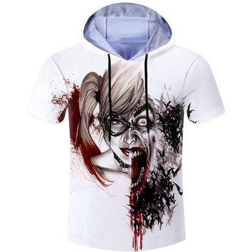 Summer Casual Hoodies T-shirt Men T Shirt Suicide Squad Joker Harley Quinn 3D Print Hooded Tshirt Fitness Skate Brand Clothing