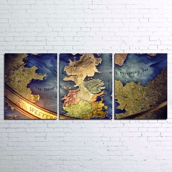 Game Of Thrones Map Westeros Wall Art Picture Canvas Print Framed UNframed
