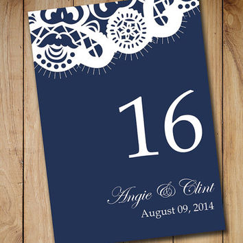 Wedding Table Number Template Vintage Lace - Dark Navy Blue Shabby Chic Wedding - Table Number Card - Wedding Reception Table Number