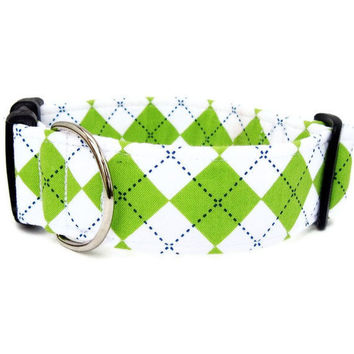 Argyle Dog Collar Lime Argyle Free U S Shipping by BigpawCollars