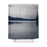 Society6 Black And White Sunset On Little Loon Shower Curtains