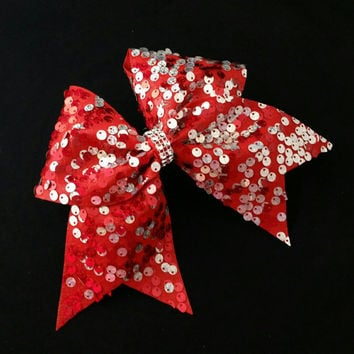 Cheer bow, Red cheer bow,  sliver cheer bow,  reversible sequin cheer bow, cheerleading bow, softball bow, pop warner cheer bow, dance bow