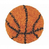 The Rug Market Shaggy Raggy Basketball Orange / Black Kids Round Rug - 02252R - Cotton Rugs - Area Rugs by Material - Area Rugs