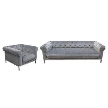 Monroe Tufted Sofa & Chair 2PC Set in Royal Platinum Grey Velvet with Brushed Stainless Steel Trim & Leg