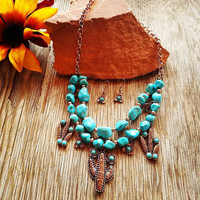 Chunky Turquoise Cactus Necklace