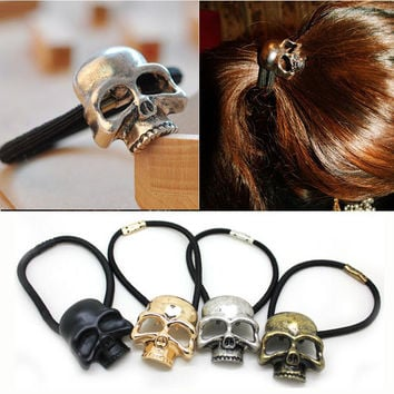 1PC Retro Punk Gothic Metal Skull Hair Tie Fashion Birds Crow Skull Elastic Hair Bands Hair Accessories Jewelry