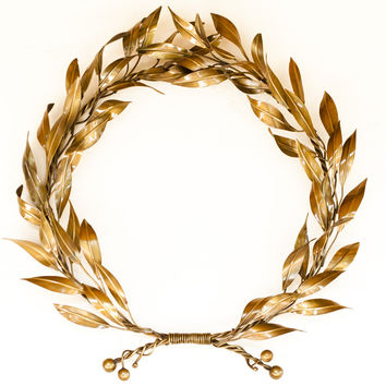 Bronze willow leaf branch wreath wall sculpture - bronze wall art