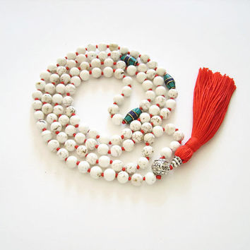 White howlite mala necklace, Red tassel necklace hand knotted mala 108 meditation jewelry, White mala beads 108 howlite necklace