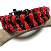 Paracord Survival Bracelet Thin Red Line Black Whistle Side Release Buckle Handmade USA Men Women