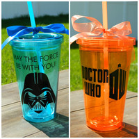 Star Wars Darth Vader May the Force be with you and/or Doctor WHO Double walled insulated Tumblers