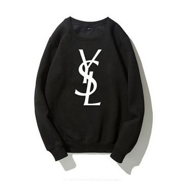 YSL Fashion New Autumn And Winter Letter Print Keep Warm Couple Long Sleeve Top Sweater
