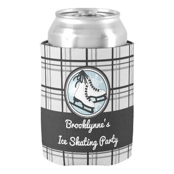 Ice Skates and Snowflakes Tartan Plaid Girly Chic Can Cooler