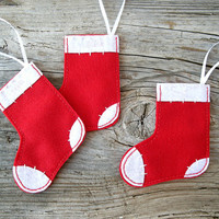 Mini Christmas stockings, holiday decor, felt ornaments, socks in red and white - Set of three 3