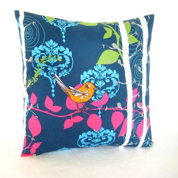 Bird Pillow Cover, Cushion Cover, Decorative Toss Pillow, Bird and Flower Print