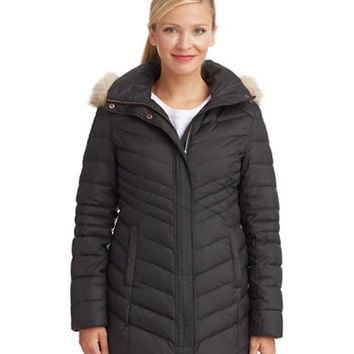 Marc New York Andrew Marc Down Fill Ribbed Quilt Jacket with Coyote Fur Trim