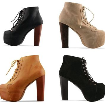 Womens Trendy Platform Lace Up Ankle Heels