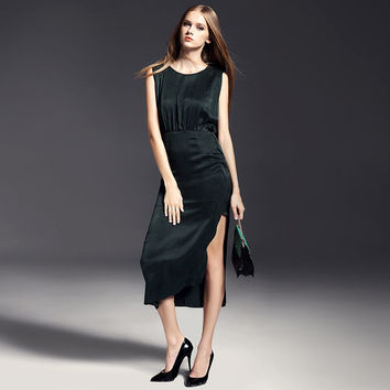 Slim Thin Split Sleeveless Dress