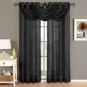 Abri Black Grommet Crushed Sheer Curtain Panel