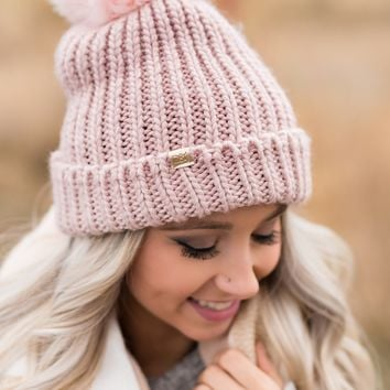 Chilly Nights Pom Beanie (Blush)