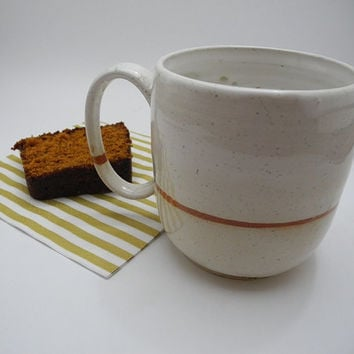 Pint Mug Large Coffee Tea Cup - Handmade Ceramics in White with Brown Stripe