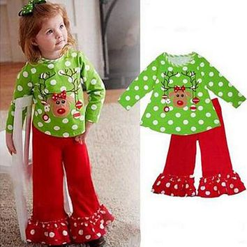 Baby Girl Christmas Clothes Sets New Year Santa Claus Infant Girls Clothes Child Polka Dot Baby Christmas Clothing