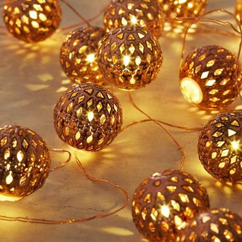 Moroccan Lantern Ball Set of 40 LED String Light Ornaments