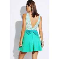 mint green lace bow tie backless A line skater retro cocktail dress - Dresses