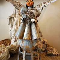 Tin angel statue French Santos style lg rusty metal angelic figure on base painted blue white shabby cottage chic decor anita spero design