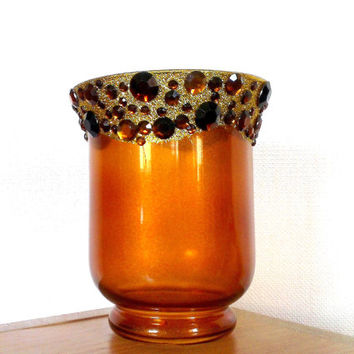 Vintage vase, Gold glitter vase,   Candle holder, Amber Glass Vase with gems,Handmade vase with amber  gems